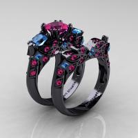 Designer Classic 14K Black Gold Three Stone Princess Pink Sapphire Blue Topaz Engagement Ring Wedding Band Set R500S-14KBGBTPS - Perspective