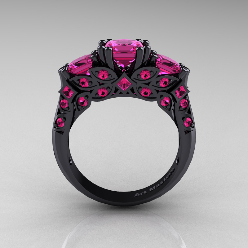 Designer Classic 14k Black Gold Three Stone Princess Pink