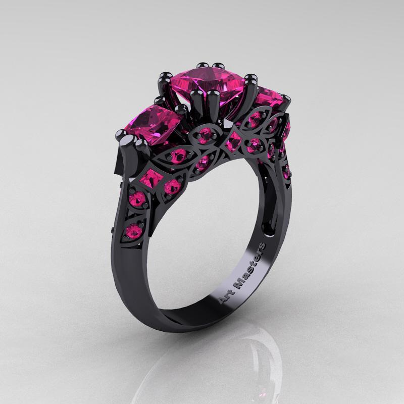 Designer Classic 14K Black Gold Three Stone Princess Pink Sapphire Engagement