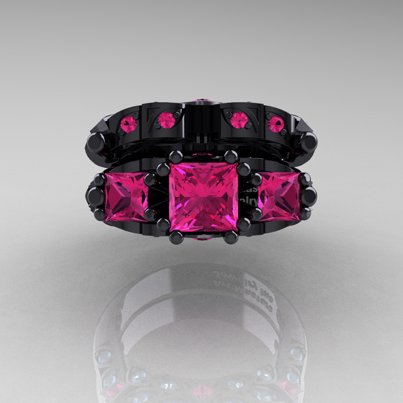 Designer Classic 14K Black Gold Three Stone Princess Pink Sapphire Engagement