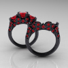 Classic-14K-Black-Gold-Three-Stone-Princess-Rubies-Solitaire-Ring-Wedding-Band-Set-R500S-BGR-F