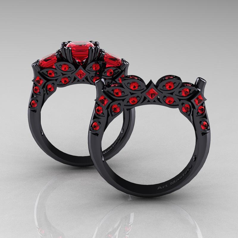 classic 14k black gold three stone princess rubies - Pink And Black Wedding Ring Set