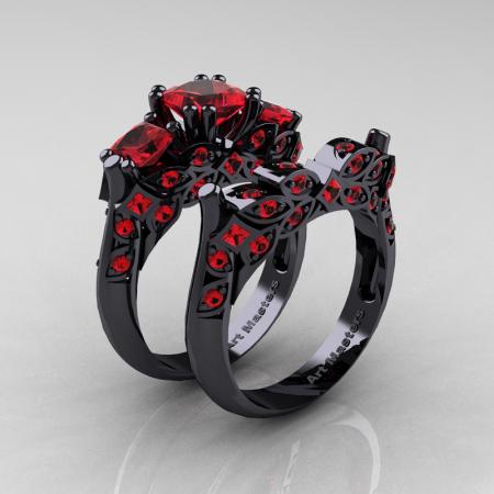 Classic-14K-Black-Gold-Three-Stone-Princess-Rubies-Solitaire-Ring-Wedding-Band-Set-R500S-BGR-P