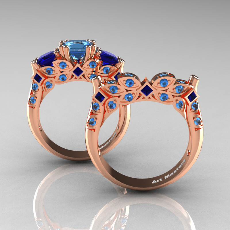 classic 14k rose gold three stone princess blue - Blue Sapphire Wedding Ring Sets