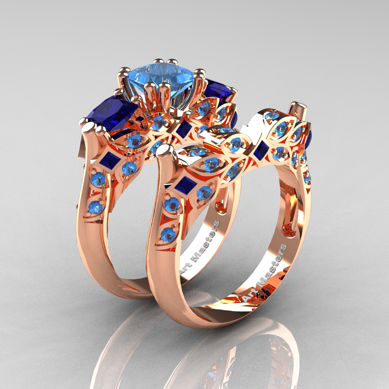 Classic 14k Rose Gold Three Stone Princess Blue Topaz Blue Sapphire