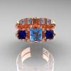 Classic-14K-Rose-Gold-Three-Stone-Princess-Blue-Topaz-Blue-Sapphire-Solitaire-Ring-Wedding-Band-Set-R500S2-14KRGBTBS-T