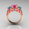 Classic-14K-Rose-Gold-Three-Stone-Princess-Pink-Sapphire-Blue-Topaz-Diamond-Ring-R500-RGBTPS-F