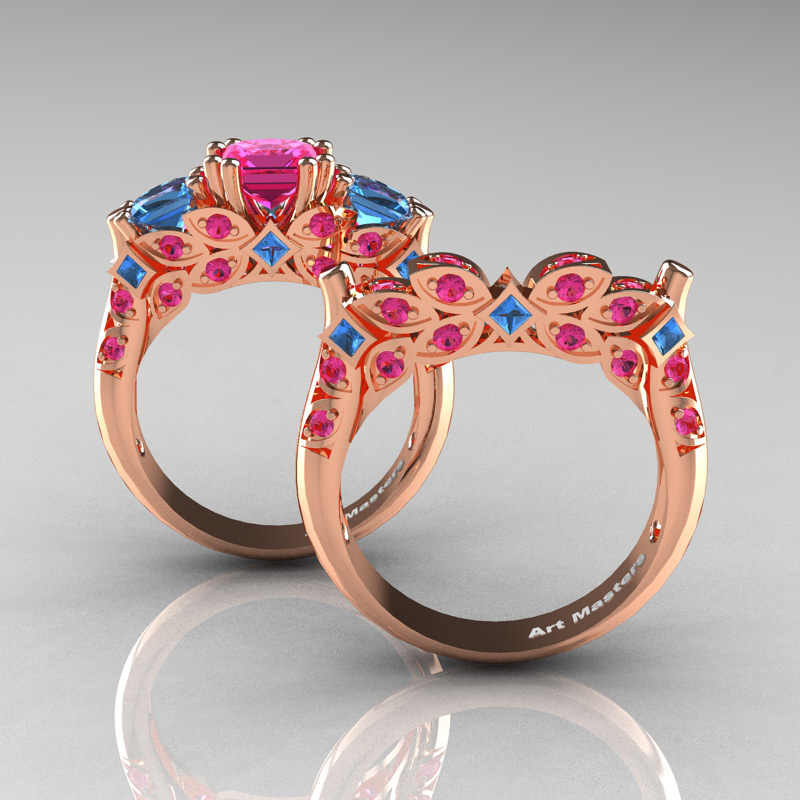 Pink Sapphire Wedding Ring Set