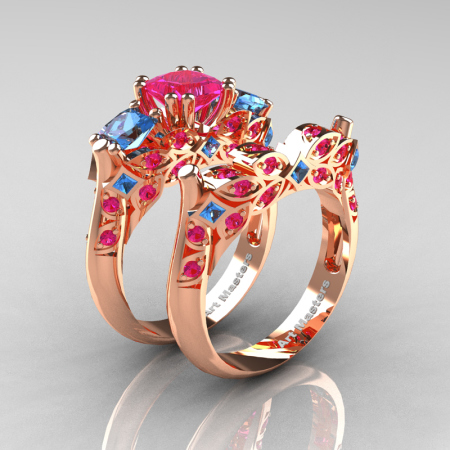 Classic-14K-Rose-Gold-Three-Stone-Princess-Pink-Sapphire-Blue-Topaz-Diamond-Ring-Wedding-Band-Set-R500S-RGBTPS-P