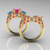 Classic-14K-Yellow-Gold-Three-Stone-Princess-Pink-Sapphire-Blue-Topaz-Diamond-Ring-Wedding-Band-Set-R500S-YGBTPS-F