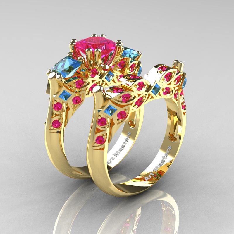 Clic 14k Yellow Gold Three Stone Princess Pink