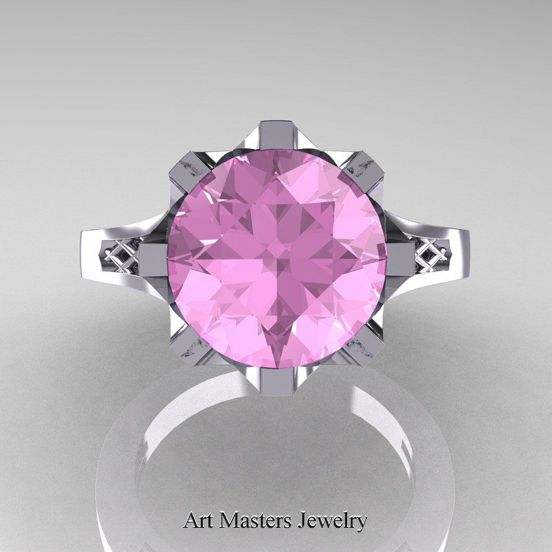 Modern 14K White Gold 30 Carat Light Pink Sapphire Crown