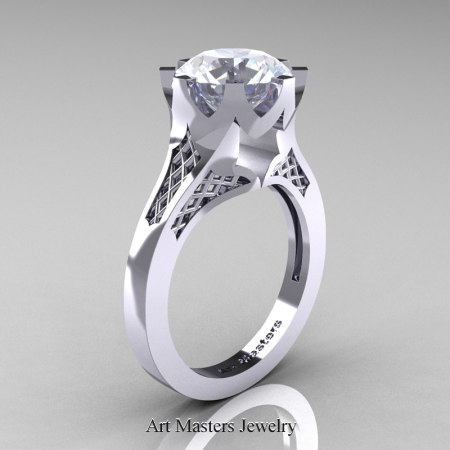 Modern-14K-White-Gold-3-Carat-White-Sapphire-Crown-Solitaire-Wedding-Ring-R580-14KWGWS-P