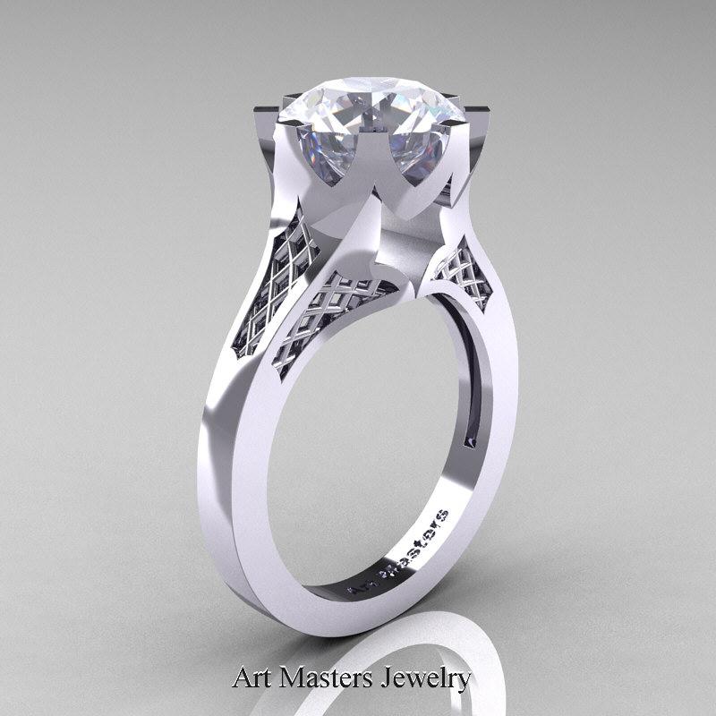 modern 14k white gold 3 carat white sapphire - White Sapphire Wedding Rings