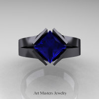 Neomodern 14K Black Gold 1.5 CT Princess Blue Sapphire Engagement Ring R389-14KBGBS