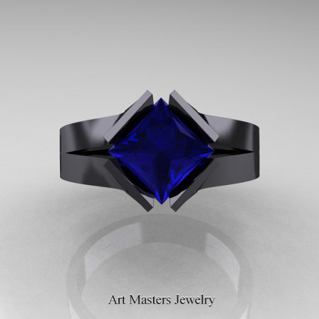 Neomodern-14K-Black-Gold-1-5-Carat-Princess-Blue-Sapphire-Engagement-Ring-R389-14KMBGBS-T