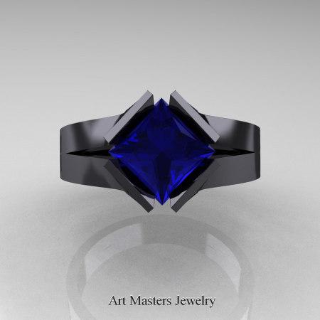 Neomodern-14K-Black-Gold-1-5-Carat-Princess-Blue-Sapphire-Engagement-Ring-R389-14KMBGBS-T