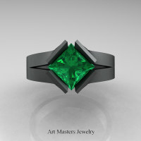 Neomodern 14K Matte Black Gold 1.5 CT Princess Emerald Engagement Ring R389-14KMBGEM