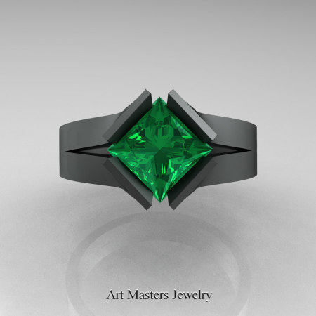 Neomodern-14K-Matte-Black-Gold-1-5-Carat-Princess-Emerald-Engagement-Ring-R389-14KMBGEM-T