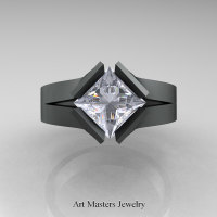 Neomodern 14K Matte Black Gold 1.5 CT Princess White Sapphire Engagement Ring R389-14KMBGWS