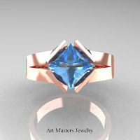 Neomodern 14K Rose Gold 1.5 CT Princess Blue Topaz Engagement Ring R389-14KRGBT
