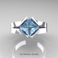 Neomodern 14K White Gold 1.5 CT Princess Aquamarine Engagement Ring R389-14KWGAQ