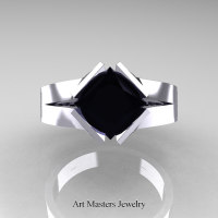 Neomodern 14K White Gold 1.5 CT Princess Black Diamond Engagement Ring R389-14KWGBD