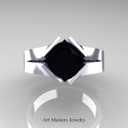 Neomodern-14K-White-Gold-1-5-Carat-Princess-Black-Diamond-Engagement-Ring-R389-14KWGBD-T
