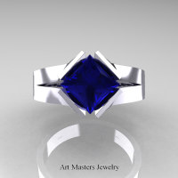 Neomodern 14K White Gold 1.5 CT Princess Blue Sapphire Engagement Ring R389-14KWGBS