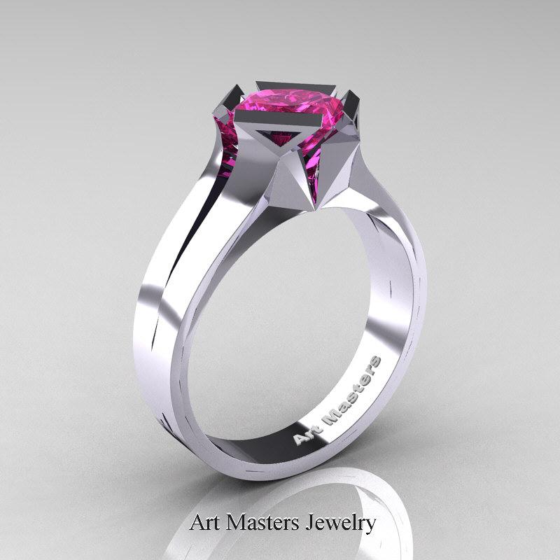 neomodern 14k white gold 15 ct princess pink sapphire engagement ring r38914kwgps