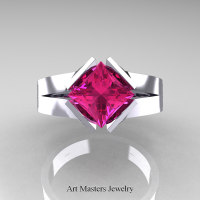Neomodern 14K White Gold 1.5 CT Princess Pink Sapphire Engagement Ring R389-14KWGPS - Top