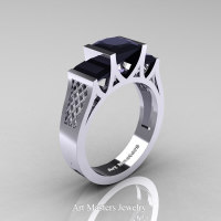 Modern 14K White Gold 1.5 Carat Princess Black Diamond Engagement Ring R387-14KWGBD - Perspective