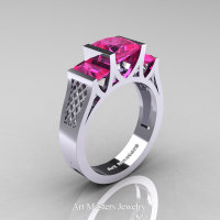 Modern 14K White Gold 1.5 Carat Princess Pink Sapphire Engagement Ring R387-14KWGPS - Perspective