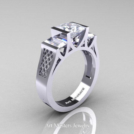 Princess-14K-White-Gold-1.5-Carat-Princess-White-Sapphire-Modern-Engagement-Ring-R387-14KWGWS-P