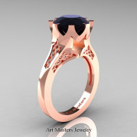 Modern 14K Rose Gold 3.0 Carat Black Diamond Crown Solitaire Wedding Ring R580-14KRGBD - Perspective