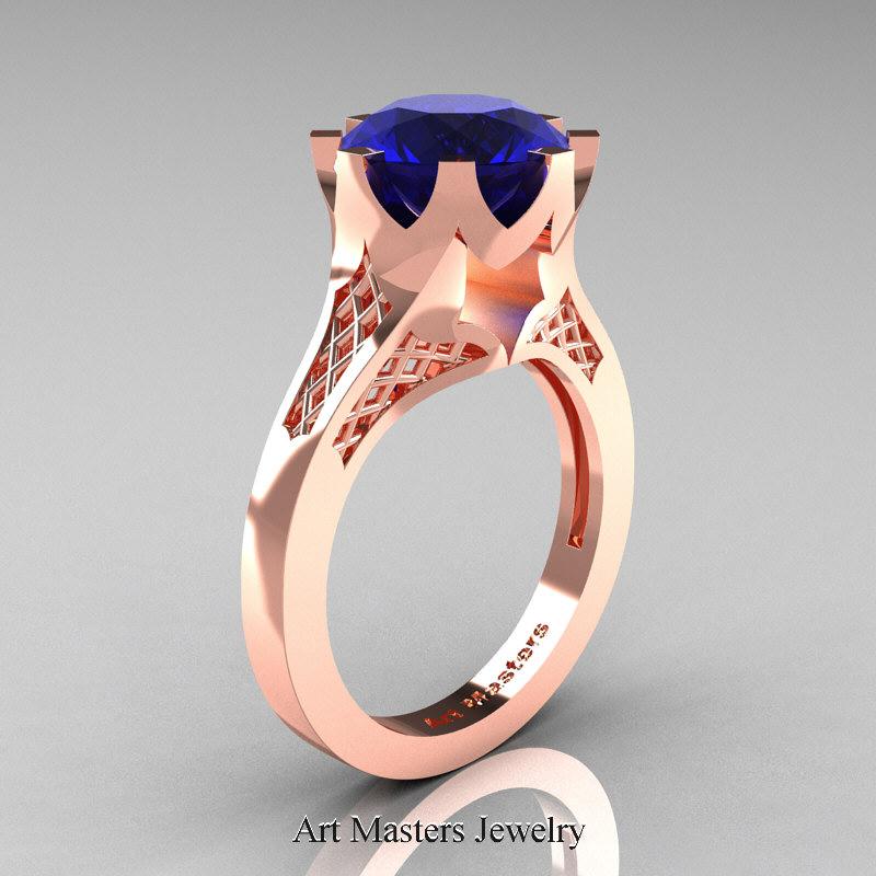 renaissance 14k rose gold 3 carat blue sapphire