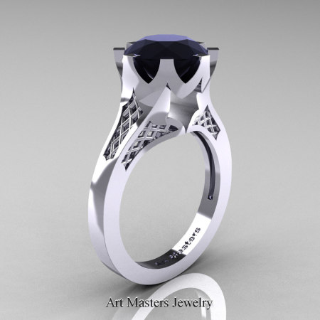 Renaissance-14K-White-Gold-3-Carat-Black-Diamond-Crown-Solitaire-Wedding-Ring-R580-14KWGBD-P