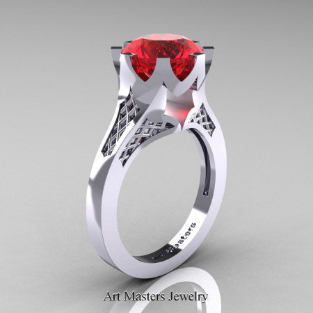 Renaissance-14K-White-Gold-3-Carat-Ruby-Crown-Solitaire-Wedding-Ring-R580-14KWGR-P