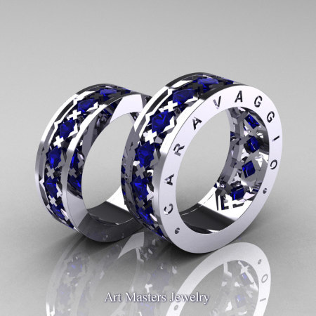 Caravaggio Modern 14K White Gold Princess Blue Sapphire Wedding Band Set R313S-14KWGBS