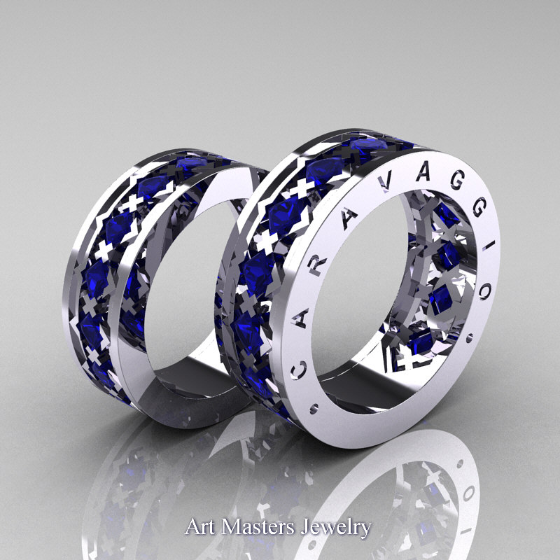 Caravaggio Modern 14k White Gold Princess Blue Sapphire Wedding Band