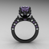 Classic French 14K Black Gold 4.0 Carat Light Tanzanite Diamond Solitaire Wedding Ring R401-14KBGDLTT