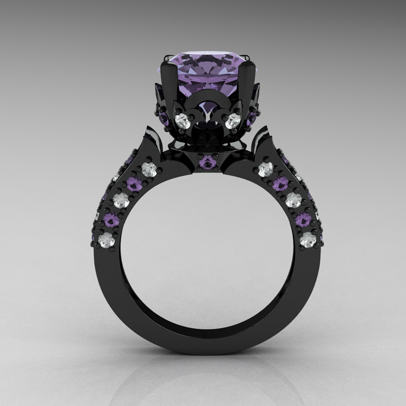 classic french 14k black gold 40 carat light tanzanite diamond solitaire wedding ring r401 14kbgdltt - Black Onyx Wedding Ring