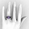Classic French 14K Black Gold 4.0 Carat Light Tanzanite Diamond Solitaire Wedding Ring R401-14KBGDLTT