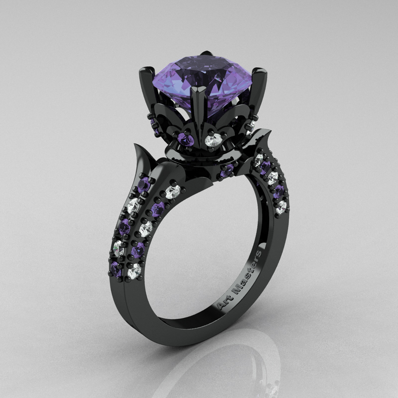 caravaggio black rings ring diamond set engagement wedding band tanzanite p carat ct gold product