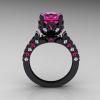 Classic French 14K Black Gold 3.0 Carat Pink Sapphire Diamond Solitaire Wedding Ring R401-14KBGDPSS