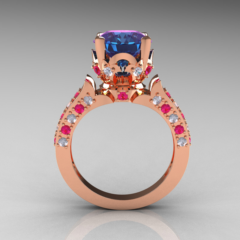 Classic French 14k Rose Gold 3 0 Carat Alexandrite Pink Sapphire Diamond Solitaire Wedding Ring R401 14krgdpssal Art Masters Jewelry