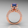 Classic French 14K Rose Gold 3.0 Carat Chrysoberyl Alexandrite Diamond Solitaire Wedding Ring R401-14KRGDAL