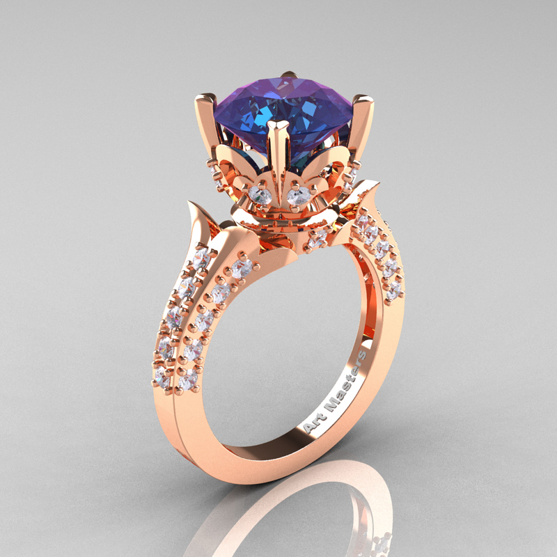 classic french 14k rose gold 30 carat chrysoberyl alexandrite diamond solitaire wedding ring r401 14krgdal - Alexandrite Wedding Ring