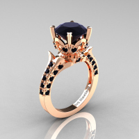 Classic French 14K Rose Gold 3.0 Carat Black Diamond Solitaire Wedding Ring R401-14KRGBD