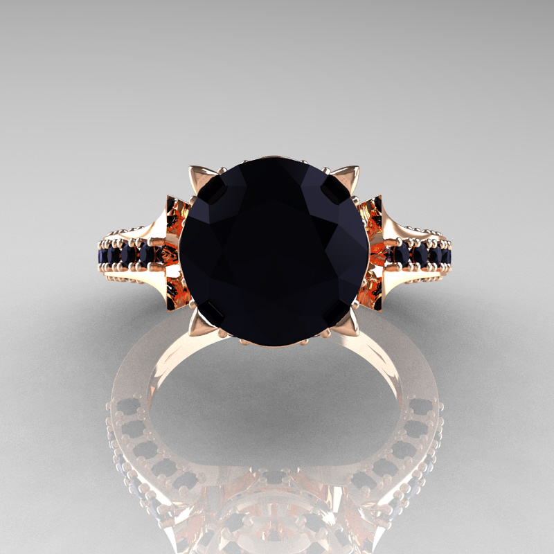 Classic French 14K Rose Gold 30 Carat Black Diamond Solitaire